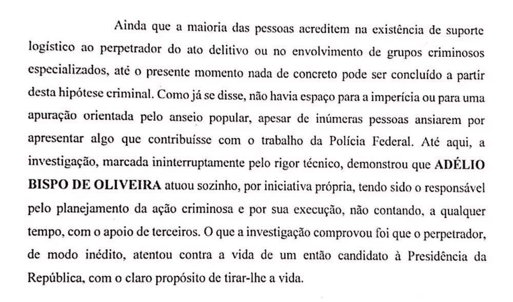 Trecho da conclusão do segundo inquérito da PF sobre o atentado a Bolsonaro. Foto Reprodução - Copia